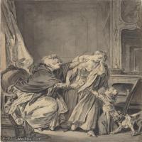 【打印級】SMR18100917-法國洛可可風格畫家讓巴蒂斯特格勒茲Jean Baptiste Greuze古典人物油畫作品圖片-The Angry Mother-22M-2575X3000