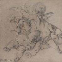 【欣赏级】SMR18100907-法国洛可可风格画家让巴蒂斯特格勒兹Jean Baptiste Greuze古典人物油画作品图片-Three angels-11M-1985X1955