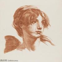 【欣赏级】SMR18100915-法国洛可可风格画家让巴蒂斯特格勒兹Jean Baptiste Greuze古典人物油画作品图片-Head of a Girl-20M-2527X2856