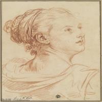 【欣赏级】SMR18100914-法国洛可可风格画家让巴蒂斯特格勒兹Jean Baptiste Greuze古典人物油画作品图片-Head of a Woman Looking Back Over H