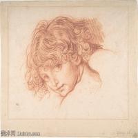 【打印級】SMR18100931-法國洛可可風格畫家讓巴蒂斯特格勒茲Jean Baptiste Greuze古典人物油畫作品圖片-Girl's Head-30M-3561X3024