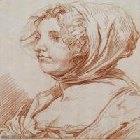 【欣賞級】SMR18100904-法國洛可可風格畫家讓巴蒂斯特格勒茲Jean Baptiste Greuze古典人物油畫作品圖片-A PORTRAIT OF A WOMAN WEARING A BON
