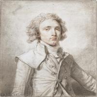 【欣賞級】SMR18100905-法國洛可可風格畫家讓巴蒂斯特格勒茲Jean Baptiste Greuze古典人物油畫作品圖片-PORTRAIT OF A YOUNG GENTLEMAN-10M-1