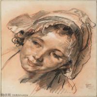 【印刷级】SMR18100937-法国洛可可风格画家让巴蒂斯特格勒兹Jean Baptiste Greuze古典人物油画作品图片-Head of Smiling Girl,c. 1765-44M-34