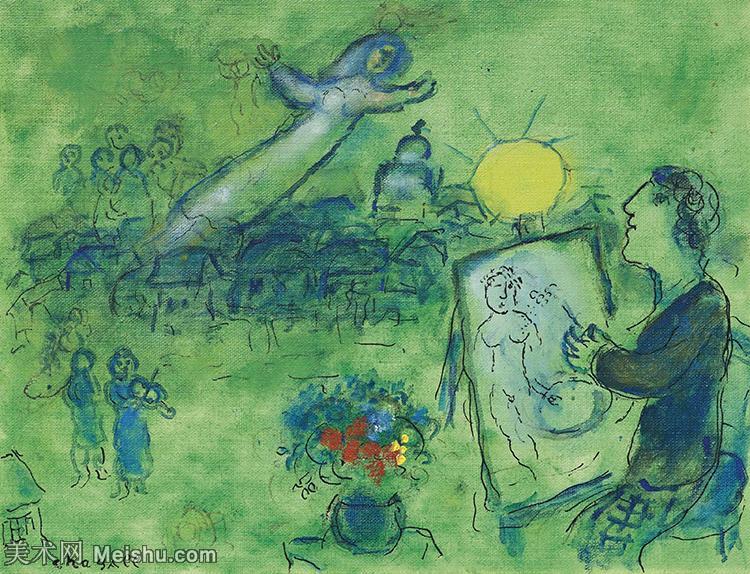 【打印级】YHR151642335-法国著名画家马克夏加尔Marc chagall抽象油画高清图片印象派油画作品图片-2