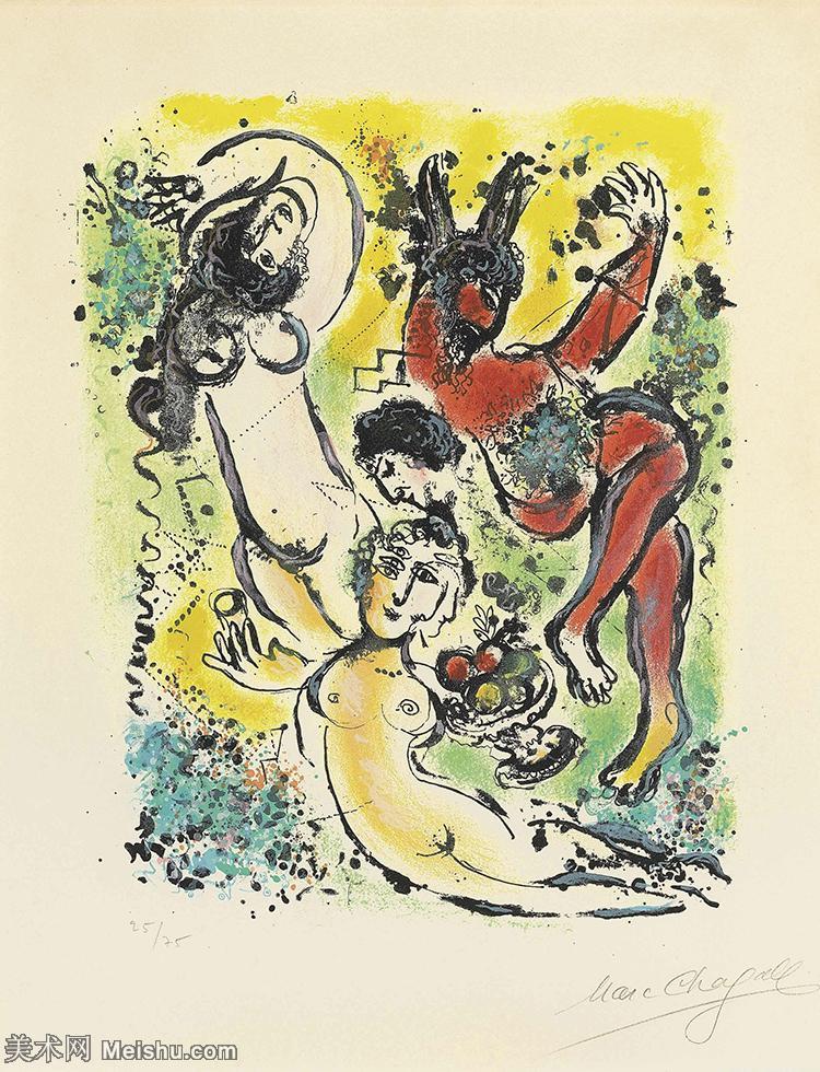 【打印级】YHR151642334-法国著名画家马克夏加尔Marc chagall抽象油画高清图片印象派油画作品图片-2