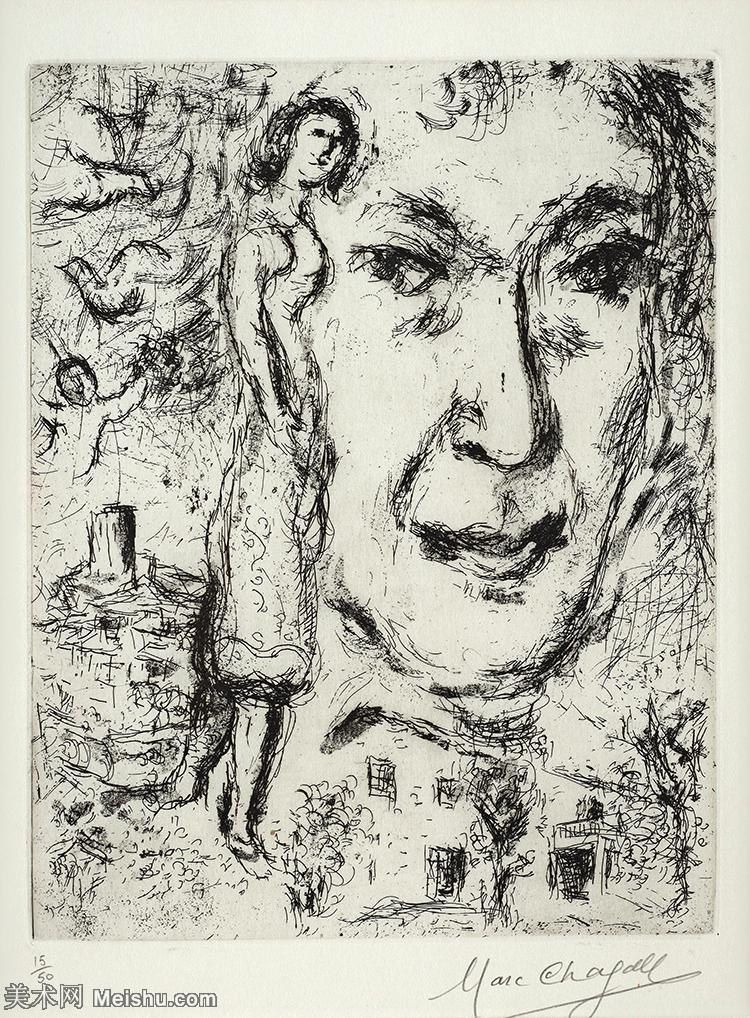 【打印级】YHR151642434-法国著名画家马克夏加尔Marc chagall抽象油画高清图片印象派油画作品图片-3
