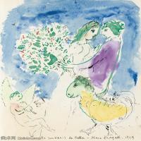 【欣赏级】YHR151642031-法国著名画家马克夏加尔Marc chagall抽象油画高清图片印象派油画作品图片-8M-1491X2000