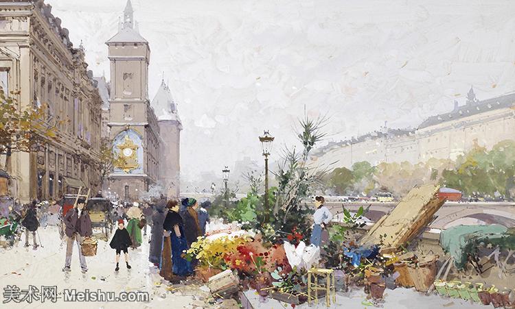 【欣赏级】YHR17133362-法国印象派艺术家尤金加林拉洛Eugene Galien Laloue巴黎风景印象油画高