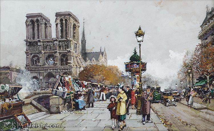 【欣赏级】YHR17133333-法国印象派艺术家尤金加林拉洛Eugene Galien Laloue巴黎风景印象油画高