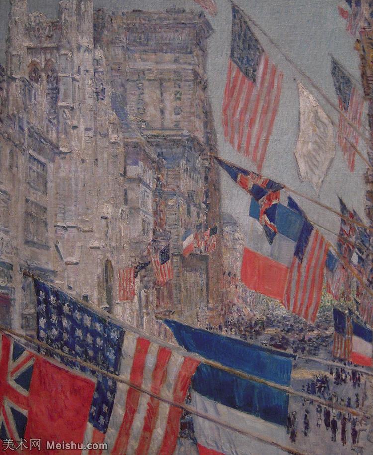 【欣赏级】YHR180958055-美国印象派画家柴尔德哈萨姆Childe Hassam油画风景高清图片印象派油画高清大