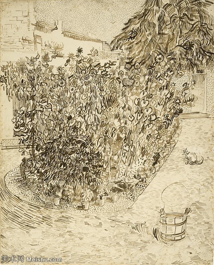 【打印级】SMR181046065-著名荷兰后印象派画家文森特梵高Vincent van Gogh手稿素描作品图片-Ga