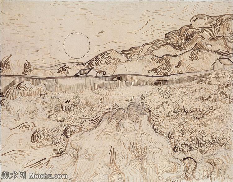 【打印级】SMR181046064-著名荷兰后印象派画家文森特梵高Vincent van Gogh手稿素描作品图片-En