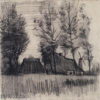 【打印级】SMR181046106-著名荷兰后印象派画家文森特梵高Vincent van Gogh手稿素描作品图片-Landscape with Cottages and a Mill-38M-420
