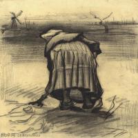 【印刷级】SMR181046132-著名荷兰后印象派画家文森特梵高Vincent van Gogh手稿素描作品图片-Peasant Woman Lifting Potatoes-44M-3500X44