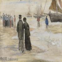 【欣赏级】SMR181046005-著名荷兰后印象派画家文森特梵高Vincent van Gogh手稿素描作品图片-THE BEACH AT SCHEVENINGEN-6M-2000X1176