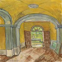 【印刷级】SMR181046138-著名荷兰后印象派画家文森特梵高Vincent van Gogh手稿素描作品图片-Vestibule in the Asylum-45M-3500X4559