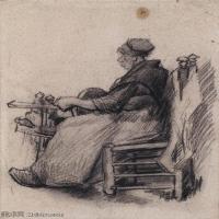 【打印级】SMR181046107-著名荷兰后印象派画家文森特梵高Vincent van Gogh手稿素描作品图片-Woman Winding Yarn222-38M-3177X4200