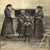 【印刷级】SMR181046131-著名荷兰后印象派画家文森特梵高Vincent van Gogh手稿素描作品图片-The Public Soup Kitchen-44M-3500X4396
