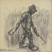 【打印级】SMR181046115-著名荷兰后印象派画家文森特梵高Vincent van Gogh手稿素描作品图片-Reaper-39M-4200X3246