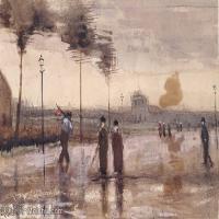 【印刷级】SMR181046144-著名荷兰后印象派画家文森特梵高Vincent van Gogh手稿素描作品图片-A Sunday in Eindhoven-50M-5005X3500