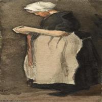 【欣赏级】SMR181046032-著名荷兰后印象派画家文森特梵高Vincent van Gogh手稿素描作品图片-Scheveningen Woman-20M-1733X4200
