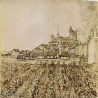 【欣赏级】SMR181046027-著名荷兰后印象派画家文森特梵高Vincent van Gogh手稿素描作品图片-View of Saintes-Maries with Church and Ram