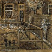【欣赏级】SMR181046012-著名荷兰后印象派画家文森特梵高Vincent van Gogh手稿素描作品图片-Back Garden of Siens Mothers House, the Ha