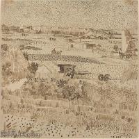 【欣赏级】SMR181046014-著名荷兰后印象派画家文森特梵高Vincent van Gogh手稿素描作品图片-Harvest in Provence222-8M-2000X1515