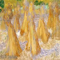 【欣赏级】SMR181046003-著名荷兰后印象派画家文森特梵高Vincent van Gogh手稿素描作品图片-Field with Stacks of Wheat-5M-2000X980