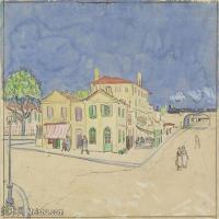 【打印级】SMR181046123-著名荷兰后印象派画家文森特梵高Vincent van Gogh手稿素描作品图片-The Yellow House-40M-4200X3351