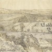 【打印级】SMR181046124-著名荷兰后印象派画家文森特梵高Vincent van Gogh手稿素描作品图片-La Crau Seen from Montmajour, 1888-40M-420