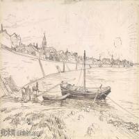 【欣赏级】SMR181046006-著名荷兰后印象派画家文森特梵高Vincent van Gogh手稿素描作品图片-View of Arles and Rhone-6M-1941X1229