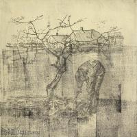 【打印级】SMR181046104-著名荷兰后印象派画家文森特梵高Vincent van Gogh手稿素描作品图片-Gardener near an Apple Tree-38M-4200X3169