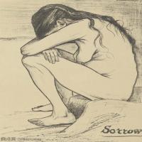 【打印级】SMR181046101-著名荷兰后印象派画家文森特梵高Vincent van Gogh手稿素描作品图片-Sorrow-37M-3121X4200