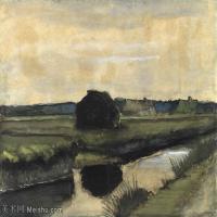 【打印级】SMR181046114-著名荷兰后印象派画家文森特梵高Vincent van Gogh手稿素描作品图片-Landscape with a Stack of Peat and Farmhou