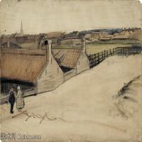 【欣赏级】SMR181046002-著名荷兰后印象派画家文森特梵高Vincent van Gogh手稿素描作品图片-View of Scheveningen-5M-1628X1175