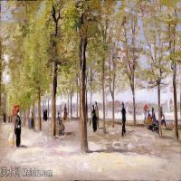 【欣赏级】SMR181046025-著名荷兰后印象派画家文森特梵高Vincent van Gogh手稿素描作品图片-In the Jardin du Luxembourg-15M-3100X1772