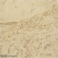 【打印级】SMR181046110-著名荷兰后印象派画家文森特梵高Vincent van Gogh手稿素描作品图片-Wheatfield After a Storm-38M-4200X3197