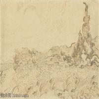 【打印级】SMR181046108-著名荷兰后印象派画家文森特梵高Vincent van Gogh手稿素描作品图片-Wheatfield and Cypresses-38M-4200X3183