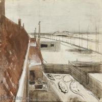 【欣赏级】SMR181046008-著名荷兰后印象派画家文森特梵高Vincent van Gogh手稿素描作品图片-VIEW FROM THE WINDOW OF VINCENTS STUDIO IN