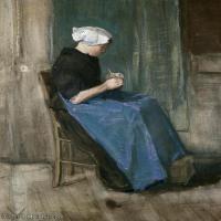 【打印级】SMR181046117-著名荷兰后印象派画家文森特梵高Vincent van Gogh手稿素描作品图片-Scheveningen Woman Sewing-39M-3152X4376