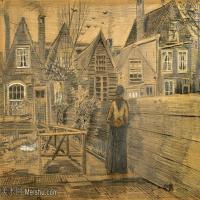 【欣赏级】SMR181046007-著名荷兰后印象派画家文森特梵高Vincent van Gogh手稿素描作品图片-Mothers House Seen from the Backyard-7M-20
