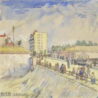 【打印级】SMR181046111-著名荷兰后印象派画家文森特梵高Vincent van Gogh手稿素描作品图片-Gate in the Paris Ramparts-38M-4200X3201