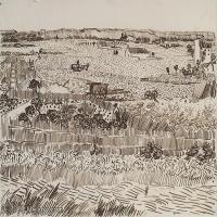 【欣赏级】SMR181046019-著名荷兰后印象派画家文森特梵高Vincent van Gogh手稿素描作品图片-Harvest in Provence22-9M-2152X1619