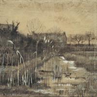 【打印级】SMR181046126-著名荷兰后印象派画家文森特梵高Vincent van Gogh手稿素描作品图片-Ditch-40M-3500X4087