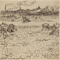 【欣赏级】SMR181046015-著名荷兰后印象派画家文森特梵高Vincent van Gogh手稿素描作品图片-Arles, View from the Wheat Field-8M-1527X2