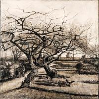 【印刷级】SMR181046133-著名荷兰后印象派画家文森特梵高Vincent van Gogh手稿素描作品图片-The Parsonage Garden at Nuenen in Winter-4