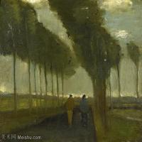 【欣赏级】SMR181046018-著名荷兰后印象派画家文森特梵高Vincent van Gogh手稿素描作品图片-Alley with Two Figures-9M-2000X1585