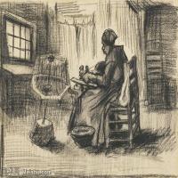 【欣赏级】SMR181046016-著名荷兰后印象派画家文森特梵高Vincent van Gogh手稿素描作品图片-WOMAN REELING YARN-8M-2000X1538